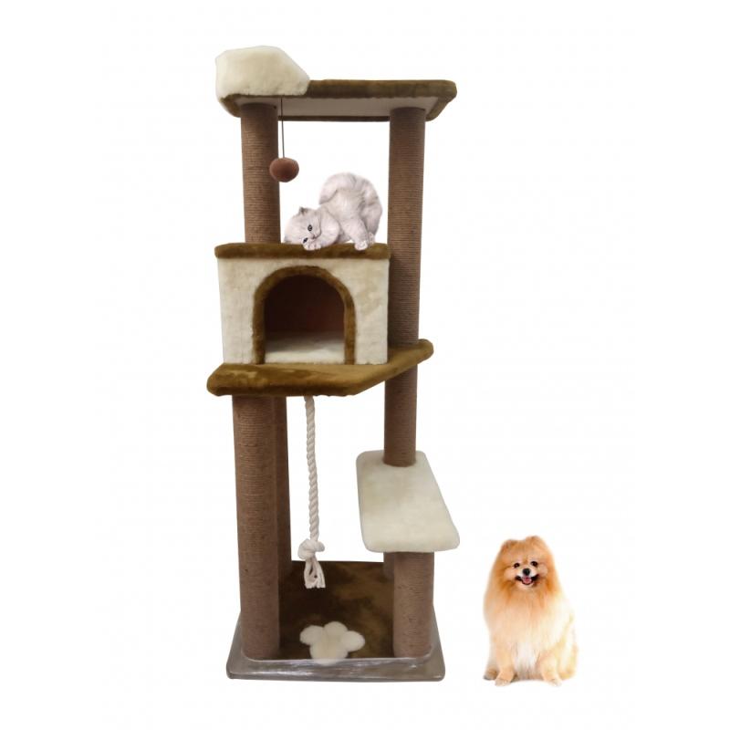 (ЗООПОЛЮС-209) Когтеточка компактный игровой комплекс многоярусный с домиком и лежанкой для кошки