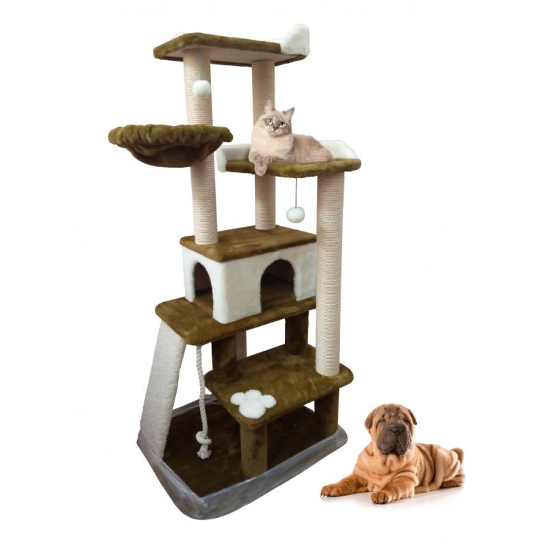 ЗООПОЛЮС-370 Многоуровневый игровой комплекс с горкой из ковролина и игрушками для кошки 6 когтеточек из джутового каната