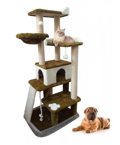 ЗООПОЛЮС-370 Многоуровневый игровой комплекс с горкой и игрушками  для кошек