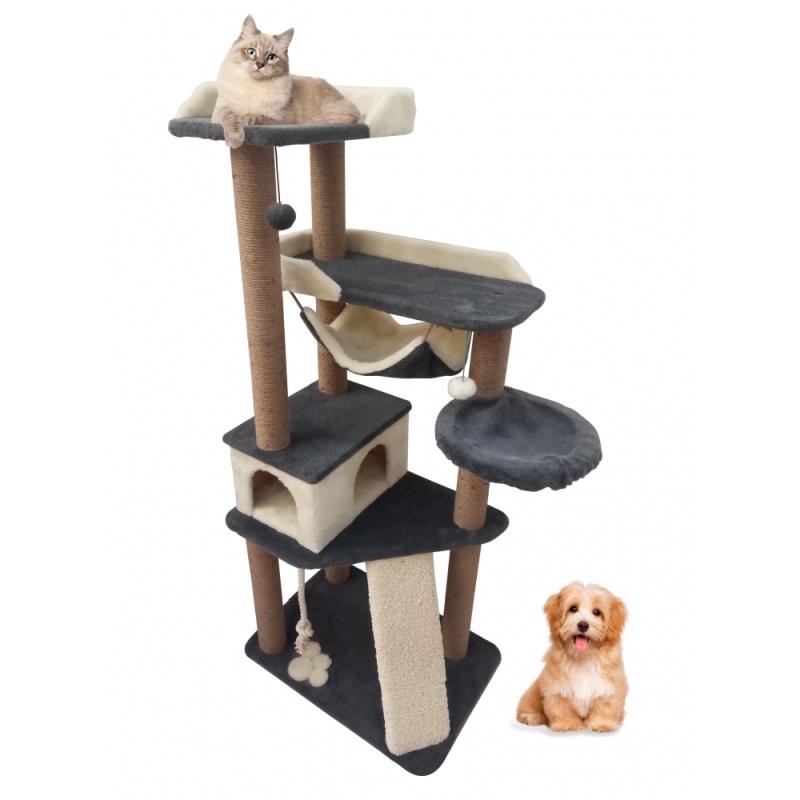 (Зоополюс-400) Игровой напольный развивающий комплекс для кошек с зонами для игр и отдыха на просторных лежанках и уютных гамачках