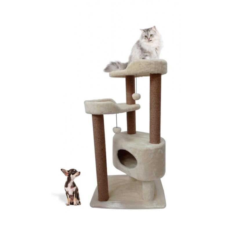(ЗООПОЛЮС-403). Многоуровневый игровой комплекс когтеточка для кошки с большими лежанками с бортиками