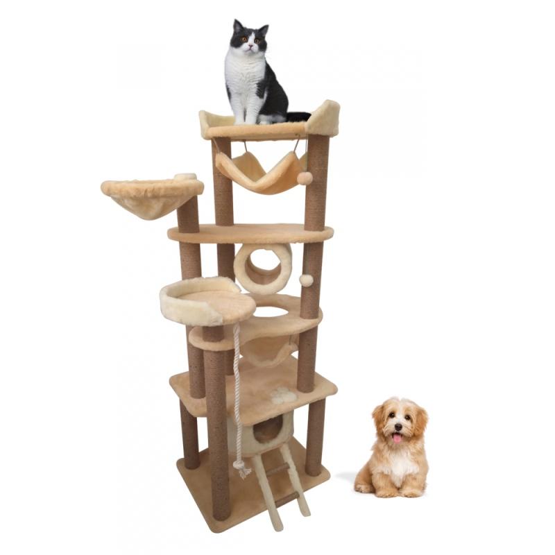 (ЗООПОЛЮС-454).Когтеточка многоуровневый высокий игровой развивающий комплекс для кошек всех пород.12 когтеточек из джутового каната