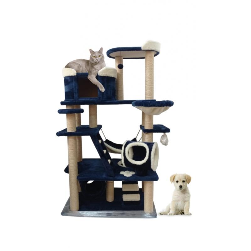 (ЗООПОЛЮС-499)Большой развивающий игровой комплекс для одной или нескольких кошек включает в себя игровые зоны и комфортные зоны отдыха