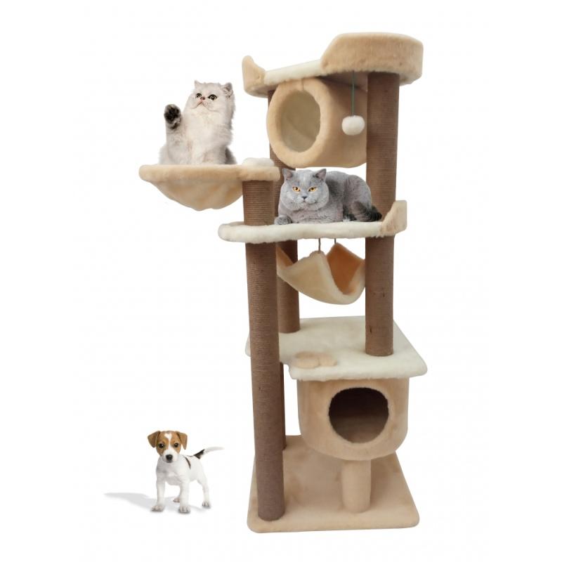 ЗООПОЛЮС-96) Комплекс игровой для кошки многоярусный с игровыми площадками тоннелем гамаками и лежанками