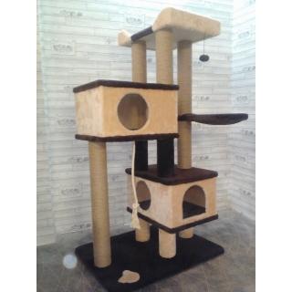 Многоуровневые комплексы для кошек с домиками тоннелями и гамаками с когтеточками из джута и ковролина