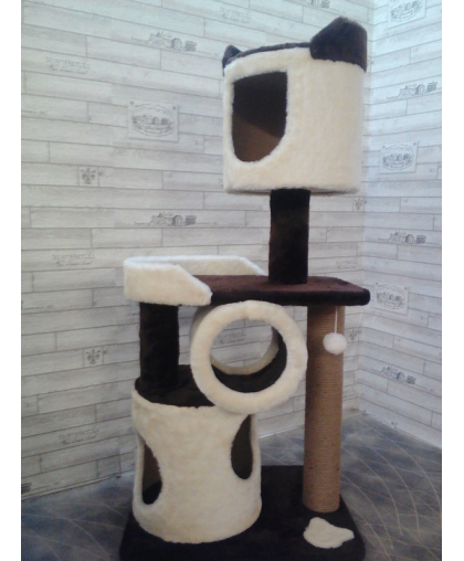 Мини комплекс для кошек с лежанкой и 2-мя домами (арт 0012)