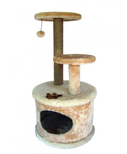 домик с когтеточкой и двумя площадками-арт-0033