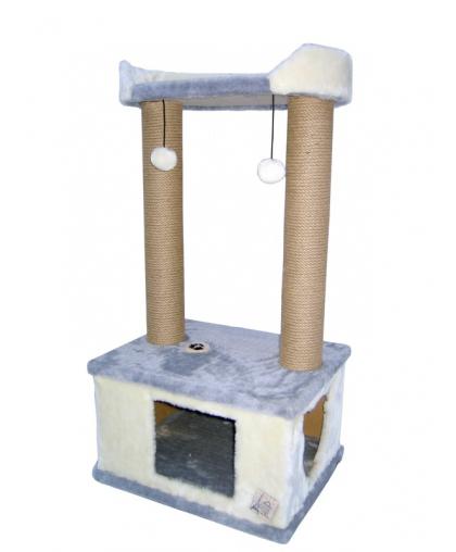 Домик с лежанкой и канатом джут 100 см (Арт-17)