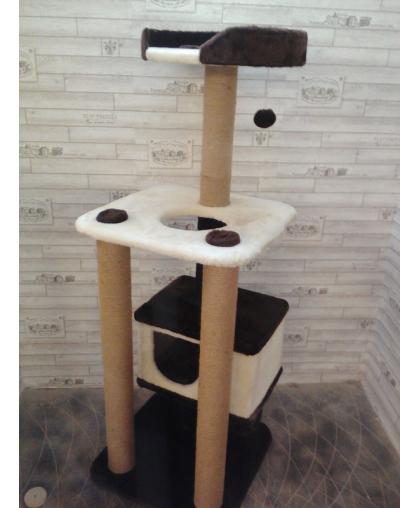Домик для кошек с лежанкой, полкой и когтеточкой высотой 155 см (Арт-33)