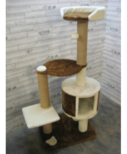 Домик для кошек с гамаком,лежанкой, полкой высота 135см (арт 77)