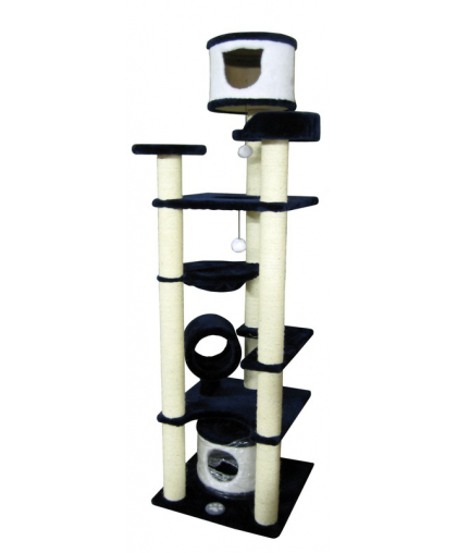 Домик для кошек с когтеточкой, тоннелем, гамаком высотой 210 см сизалевые когтеточки (Арт-988)