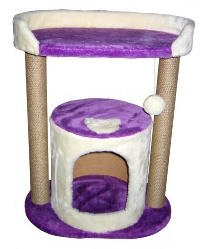 Дом для кота с лежанкой, фиолетовый (Арт-3)