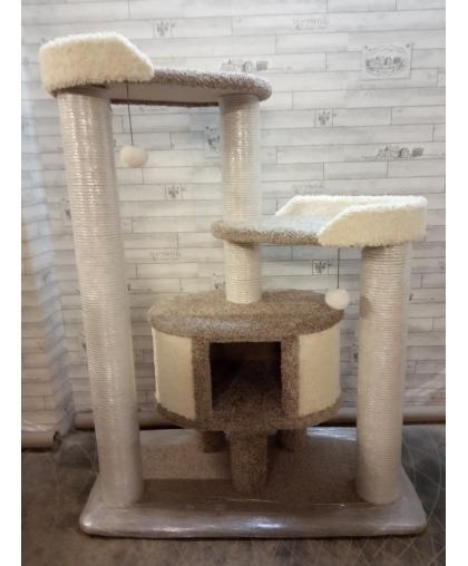 Кот -132. Ковролиновый комплекс для всех пород кошек.Хлопковый канат 8 мм.Когтеточки диаметром 13 см.