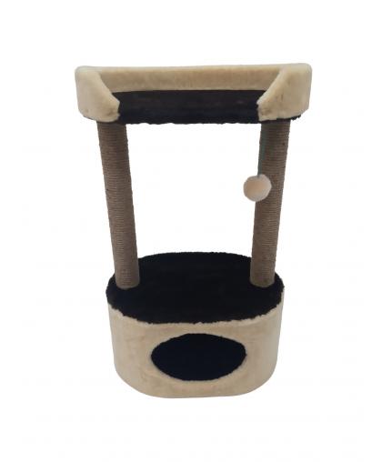 Домик с лежанкой для кошек, джут (мех) (Арт-04)