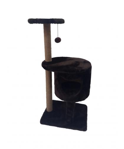 ЗООПОЛЮС-1019 Когтеточка с домиком (темно коричневый)