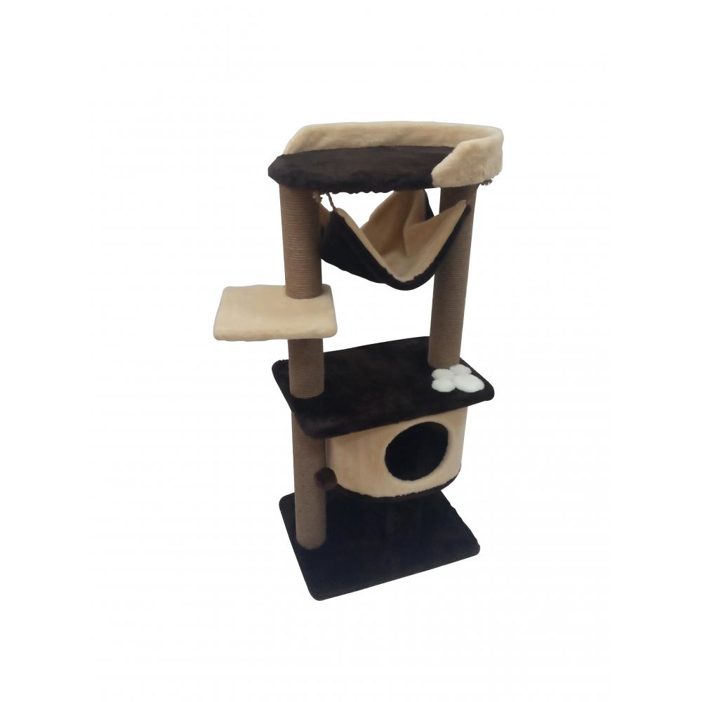 Арт-(246) Когтеточка комплекс многоуровневый компактный с гамаком и домиком для кошек всех пород