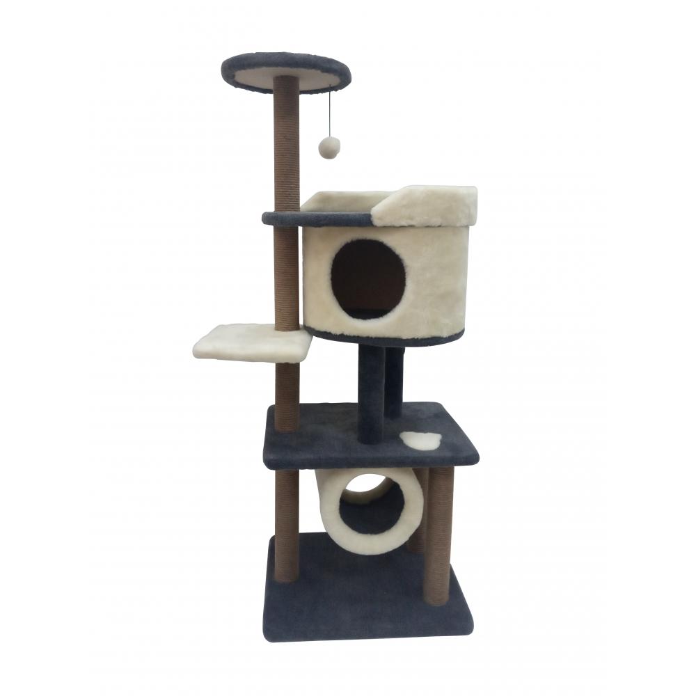 (ЗООПОЛЮС-247) Многоярусная когтеточка комплекс для кошек с домиком тоннелем и просторной лежанкой