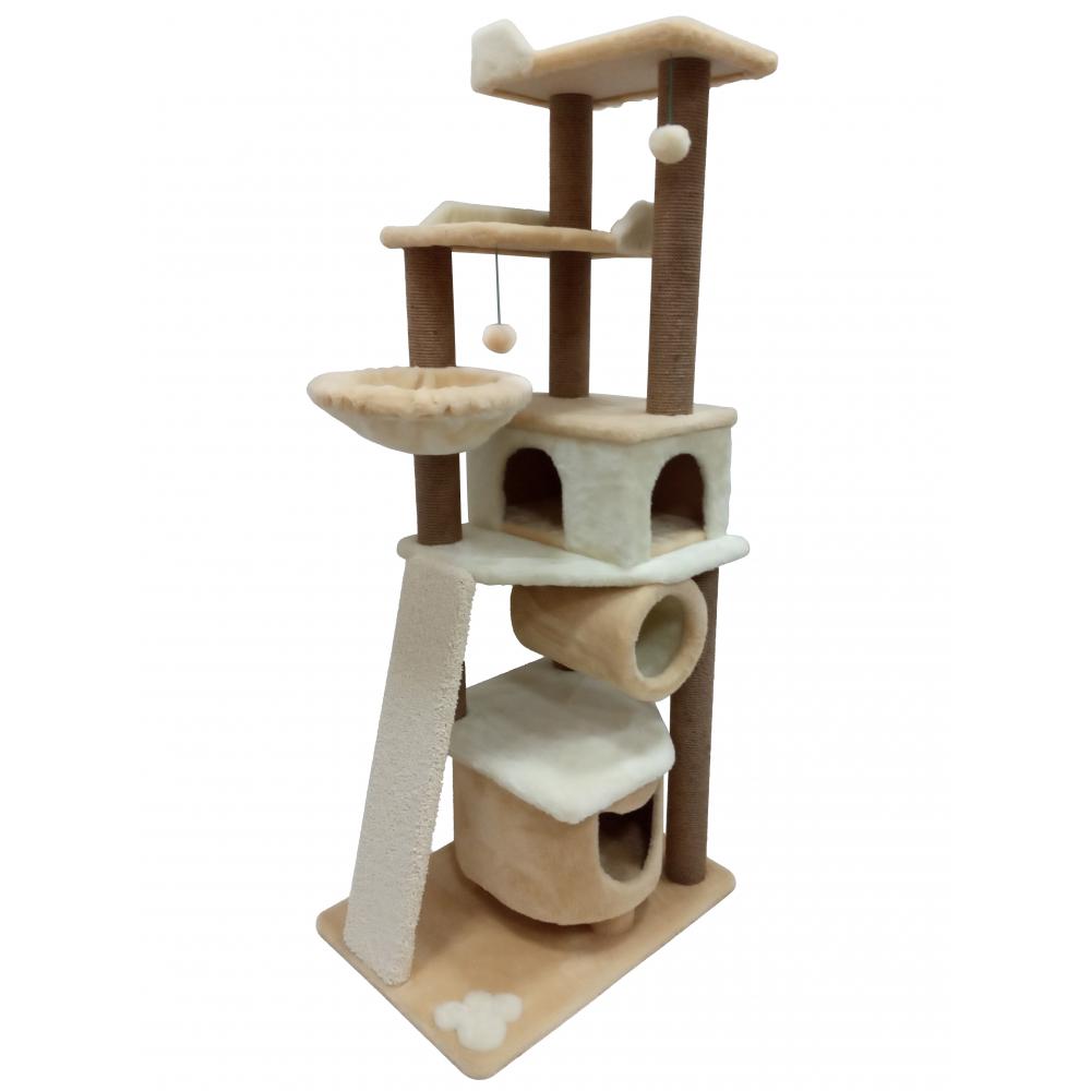 Комплекс игровой с двумя домиками, гамаком и  дополнительной когтеточкой из ковролина