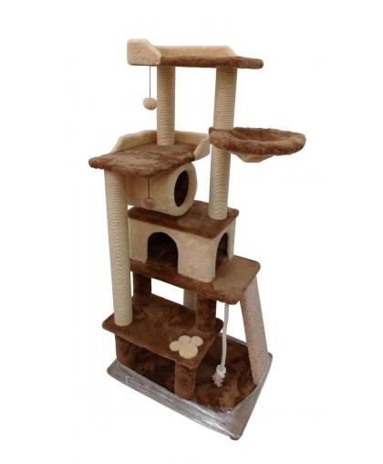 (ЗООПОЛЮС-272)Многоуровневый комплекс с когтеточками из сизалевого каната и игровыми площадками для кошки