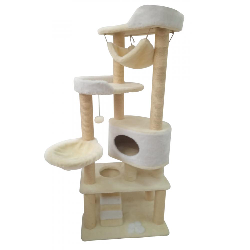 (ЗООПОЛЮС-294)Когтеточка игровой комплекс для кошки высота 175 см, большой домик и лежанки, высокопрочные сизалевые когтеточки