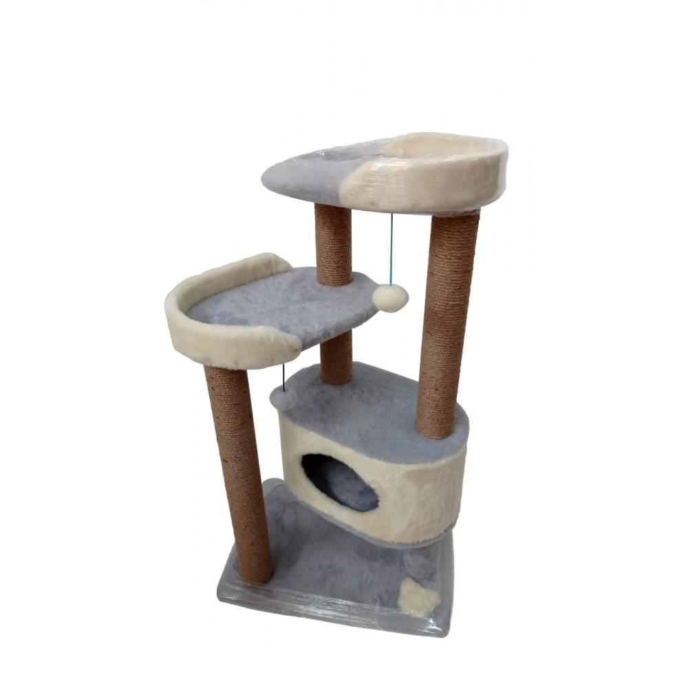 (ЗООПОЛЮС-404) Когтеточка комплекс игровой для кошки многоярусный с  лежанками и  домиком