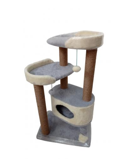 (ЗООПОЛЮС-404) Когтеточка комплекс с лежанками и домиком для котейки