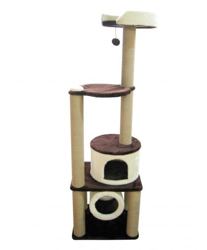 (ЗООПОЛЮС-76)Когтеточка комплекс для кошек с тоннелем, лежанкой  с бортиком и гамаком