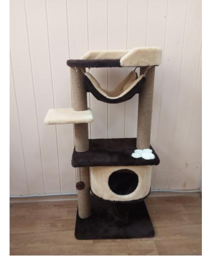 (ЗООПОЛЮС-246)Когтеточка комплекс многоуровневый с гамаком и домиком для кошки