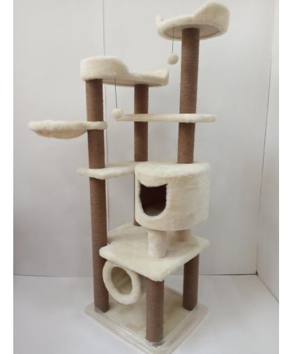 (ЗООПОЛЮС-94) Комплекс когтеточка игровой с домиком и гамаком