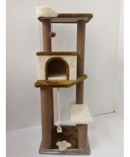 (ЗООПОЛЮС-209) Когтеточка игровой комплекс многоярусный с домиком и лежанкой для кошки