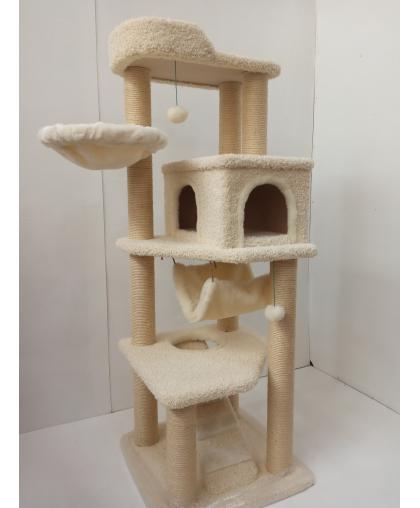 (ЗООПОЛЮС-147) Многоуровневый игровой комплекс из ковролина с сизалевыми когтеточками