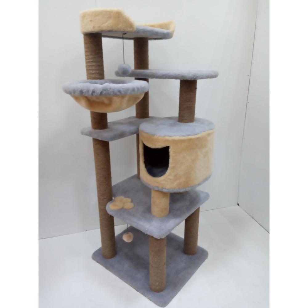 ЗООПОЛЮС-183) Когтеточка с гамаком многоуровневая высокая с домиком и лежанкой для кошки