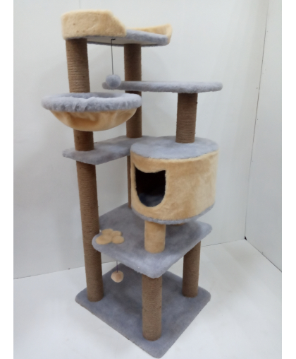 (ЗООПОЛЮС-183) Когтеточка многоуровневая высокая с домиком лежанкой и гамаком для кошки