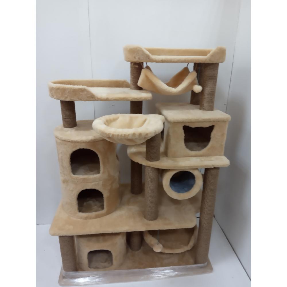 (ЗООПОЛЮС-422)Комплекс для кошек многоуровневый с большими уютными домиками мягкими гамачками и просторными лежанками