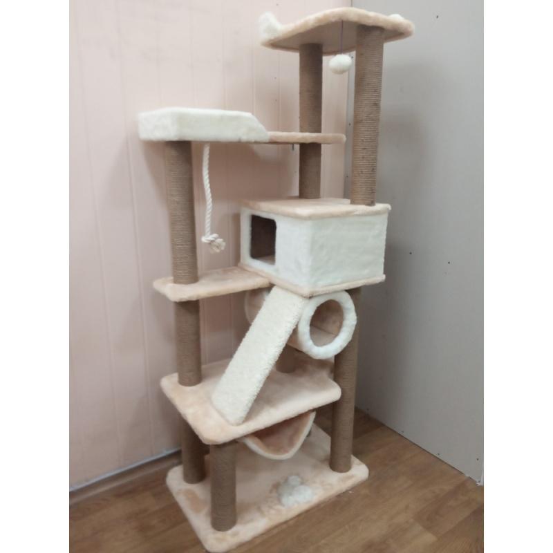 Комплекс игровой с тоннелем  и гамаком 10 когтеточек для крупных кошек
