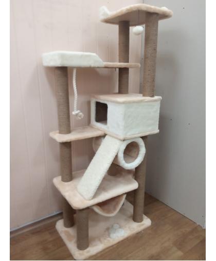 Комплекс для кошки с домиком большими лежанками и наклонной когтеточкой (Зоополюс-151)