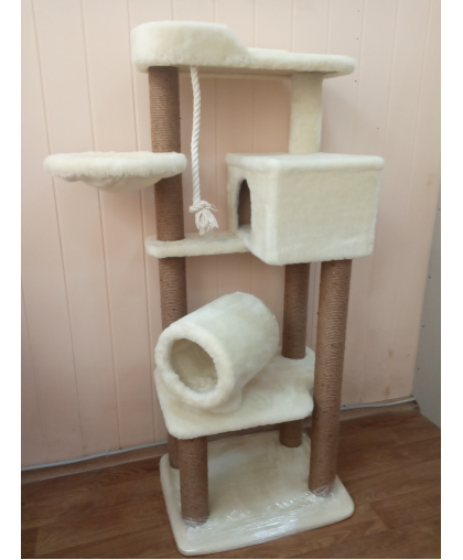 (Арт-355) Комплекс высокий с тоннелем домиком и гамаком для кошки