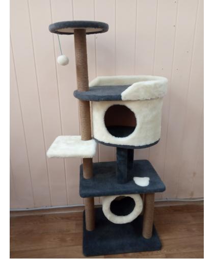 ЗООПОЛЮС-247 Многоярусная когтеточка комплекс для кошек 144 см