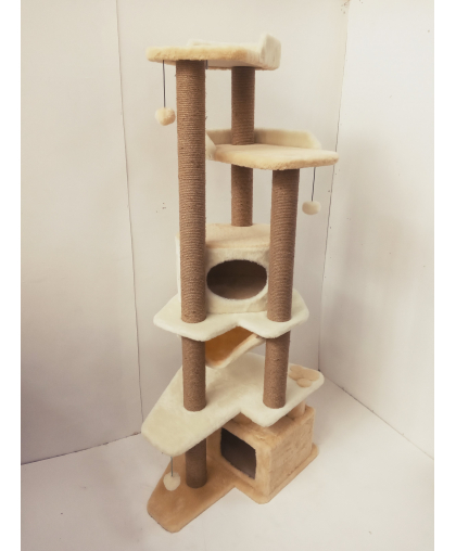 (ЗООПОЛЮС-500) КРИСТАЛЛ- Комплекс игровой высокий(187 см)многогранный с домиками и лежанками для кошки