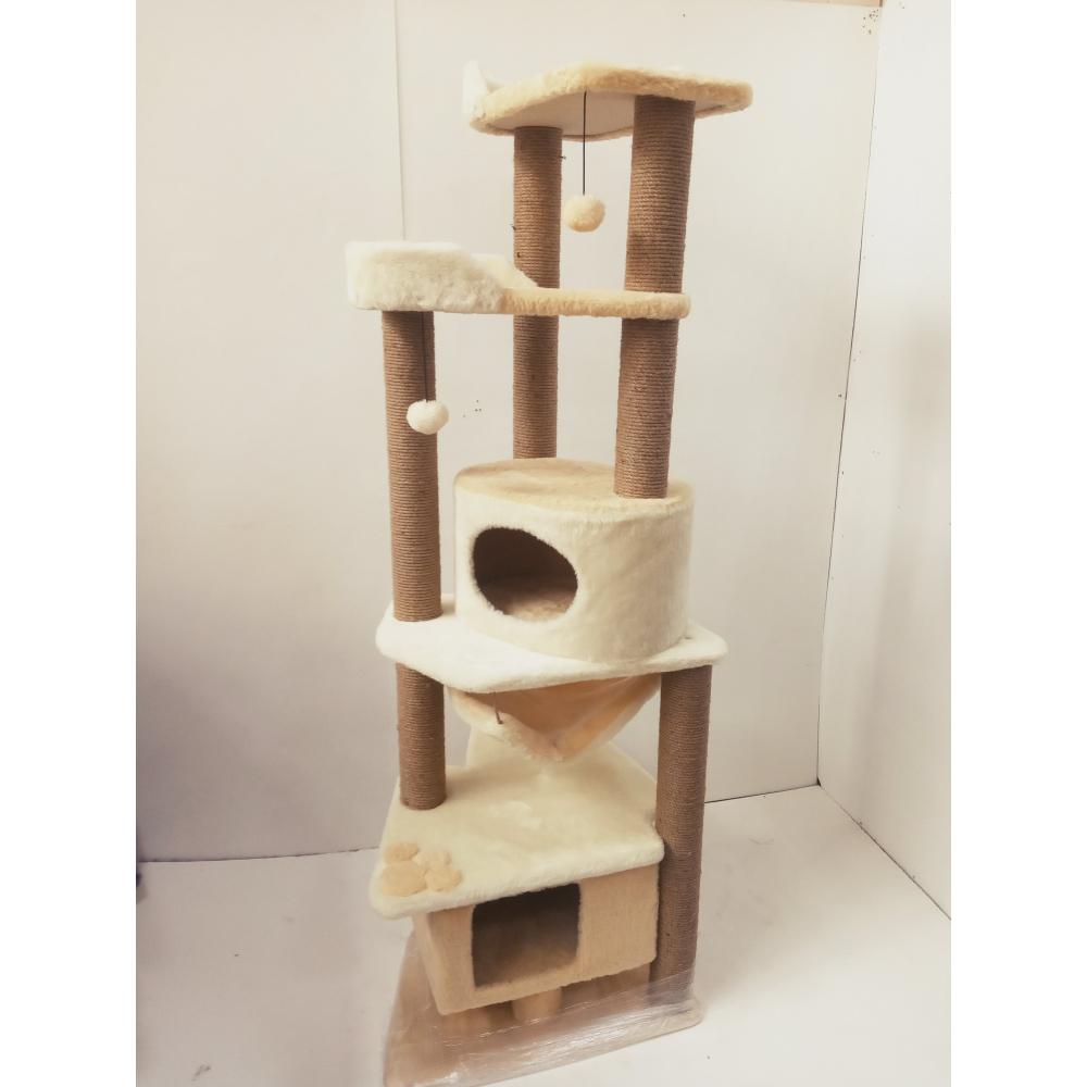 (ЗООПОЛЮС-1048 )Комплекс когтеточка для кошки многоуровневый высокий(187 см) с подвесным гамачком