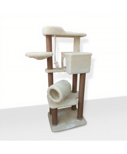 (ЗООПОЛЮС-355) Комплекс высокий с тоннелем домиком и гамаком для кошки