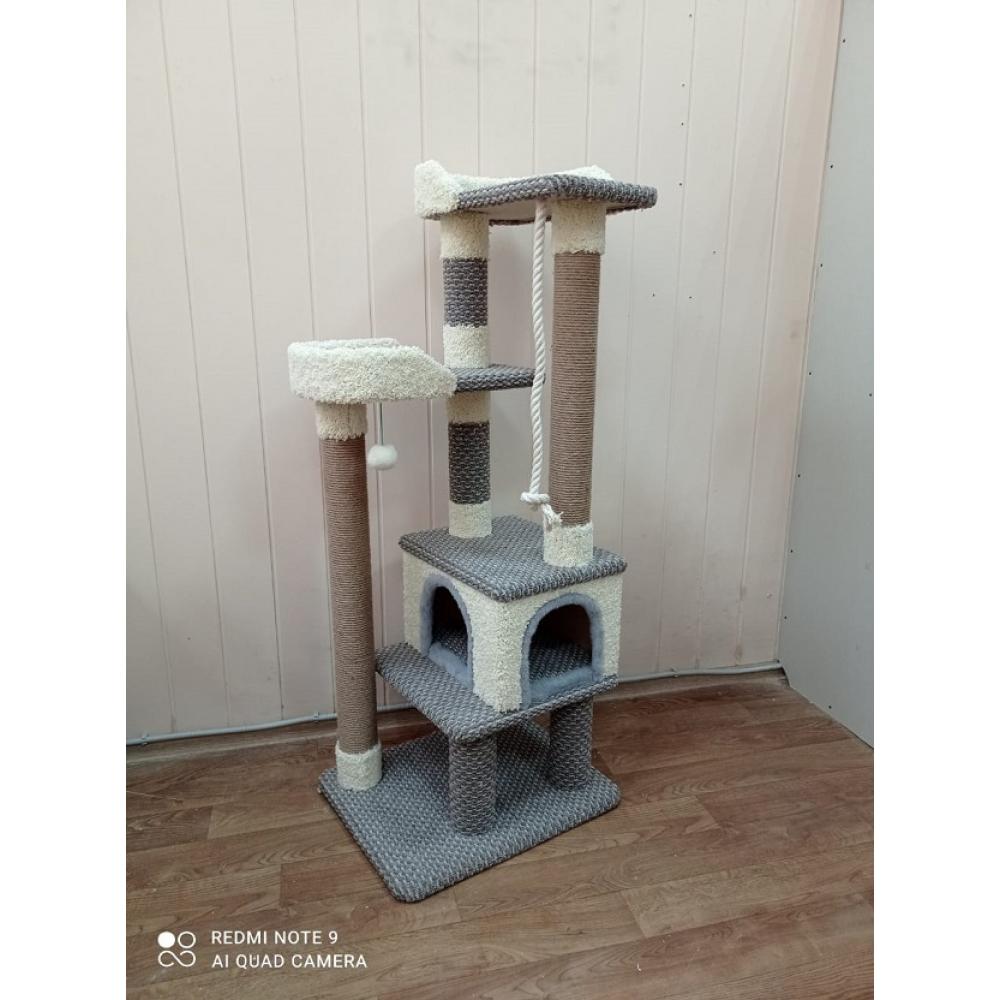 Комплекс для кошки многоуровневый компактный с домиком и лежанками (Арт-502) ковролин