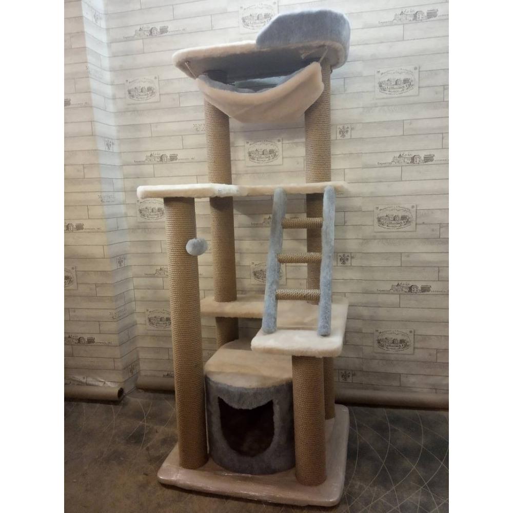 Комплекс с домиком, лесенкой и гамаком для кошек