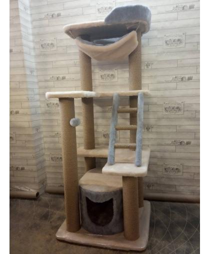 Комплекс с домиком, лесенкой и гамаком для кошек (Арт-65)