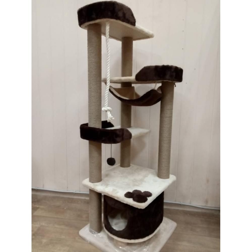 Высокий многоуровневый комплекс для одной или нескольких кошек, 8 когтеточек, 2 игрушки