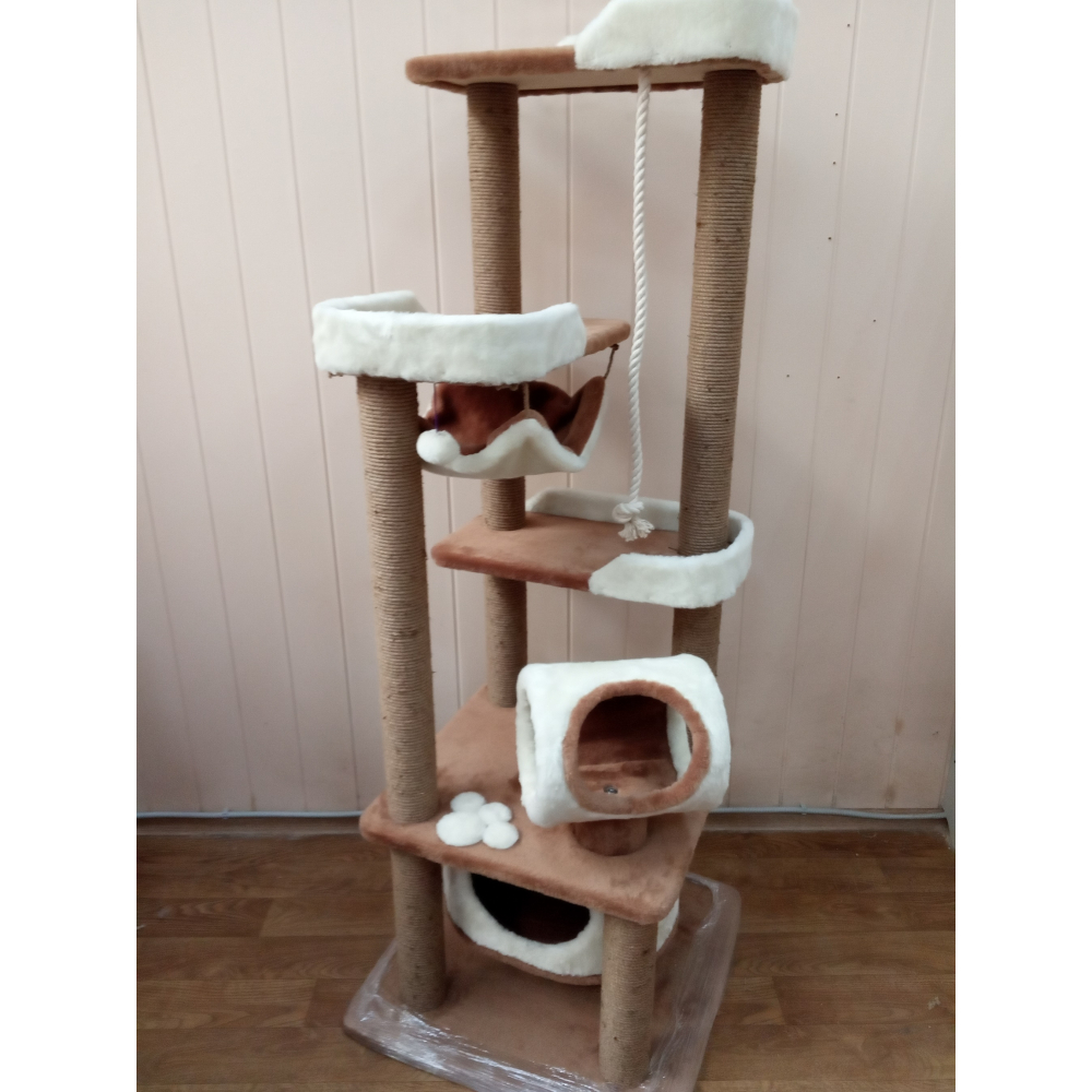 ЗООПОЛЮС-86 Высокий игровой комплекс с когтеточками и игровыми зонами для активных кошек всех пород