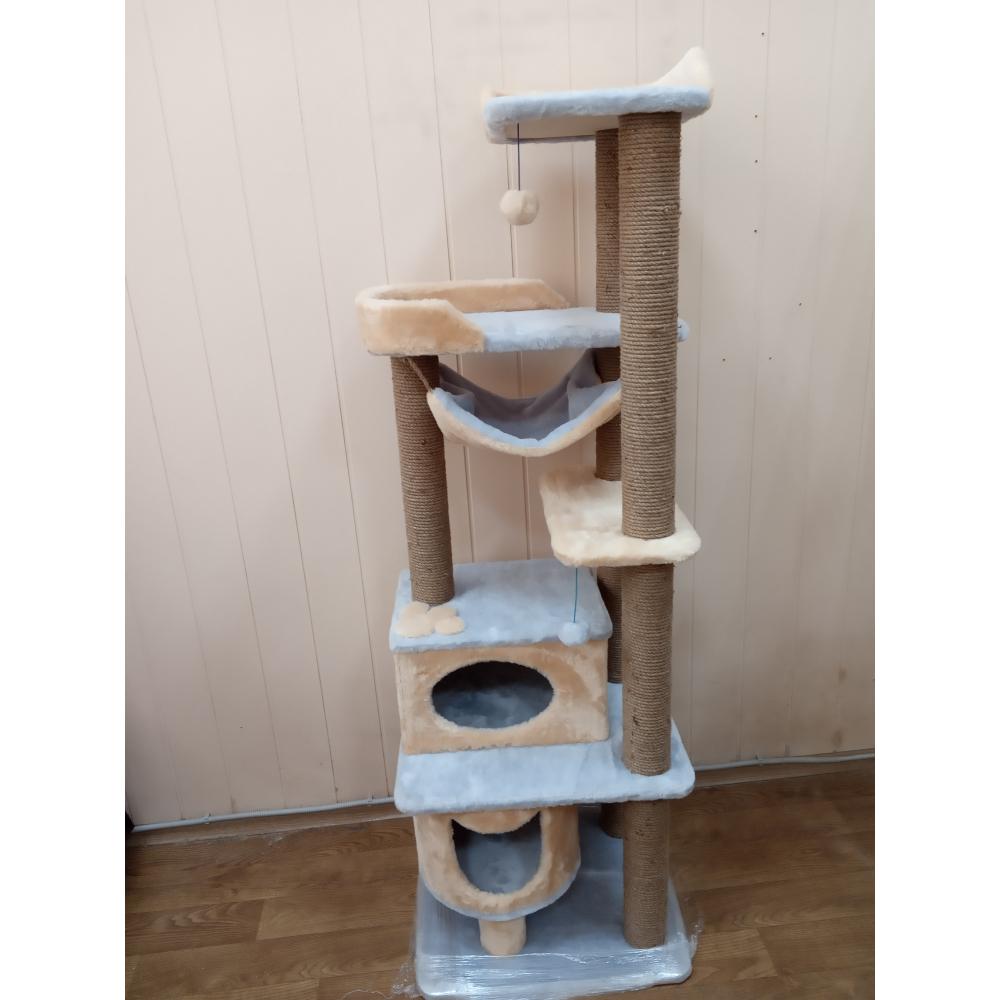 ЗООПОЛЮС-0018 Высокий многоуровневый комплекс  для кошек с двумя домиками 8 когтеточек