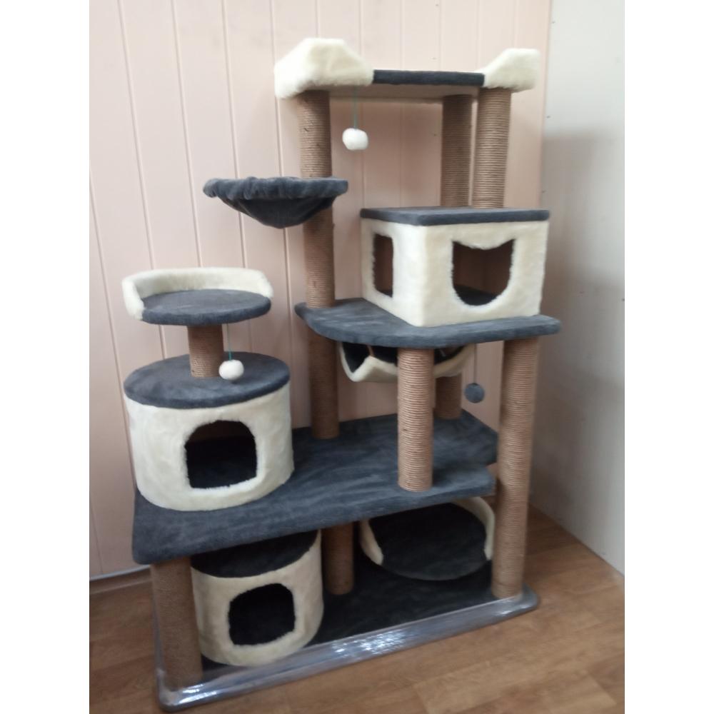 Зоополюс-122 Игровой комплекс для кошек с сизалевыми когтеточками три домика и большая лежанка