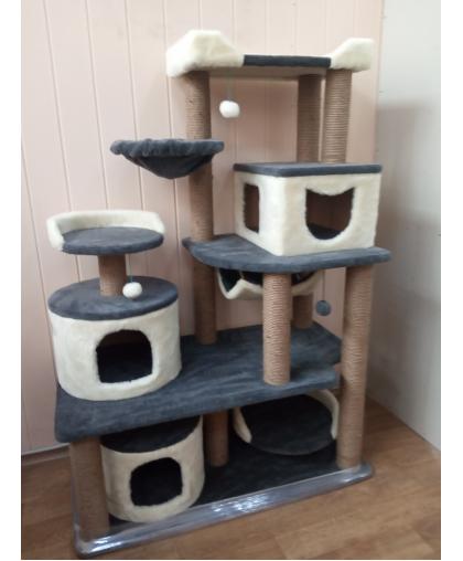 Зоополюс-122 Игровой комплекс для кошек сизалевые когтеточки и три больших домика