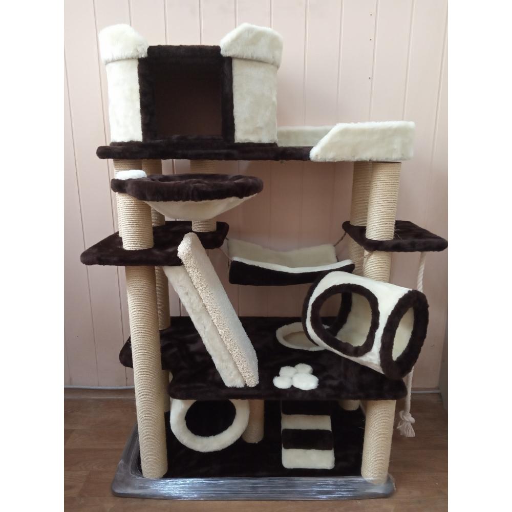 Зоополюс-100 Вилла для кошки-3 Большой многоуровневый игровой комплекс с сизалевыми когтеточками горками тоннелями  лесенками  и  игрушками
